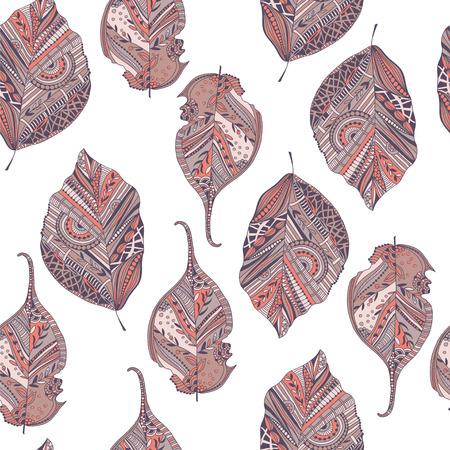 Endless elegant texture with leaves. Illustration