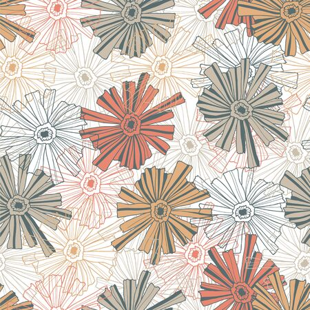 contoured: Seamless floral pattern of the contoured flowers.