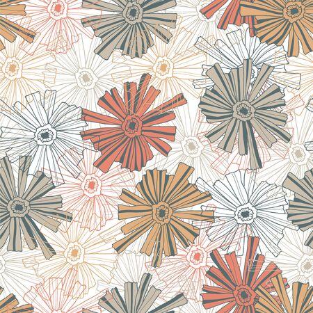 contoured: Sin fisuras patr�n floral de las flores contorneadas.