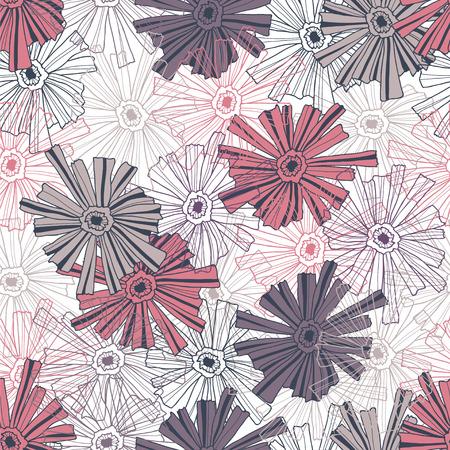 contoured: Modelo floral de las flores contorneadas. Vectores