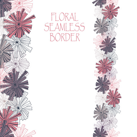 contoured: Floral border pattern of the contoured flowers.