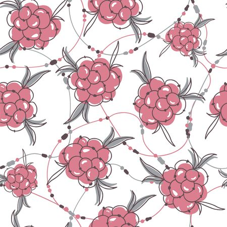 bracelets: Seamless pattern with berries and bracelets. Illustration