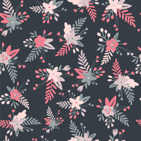 red rose black background: Floral seamless pattern with spring bouquets.