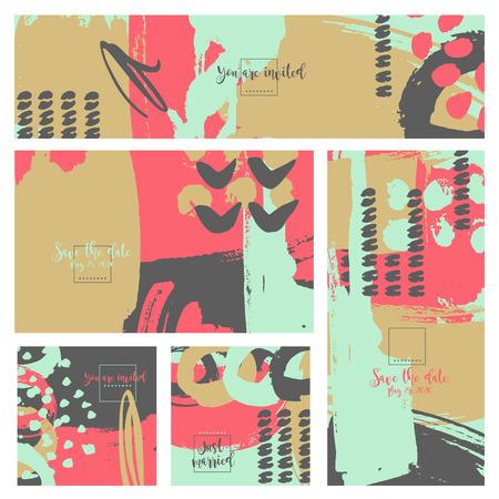 Collection five invitation cards of ink splatter.