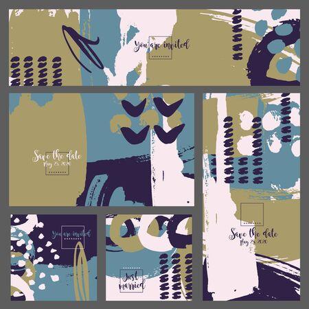 ink splatter: Collection five invitation cards of ink splatter.