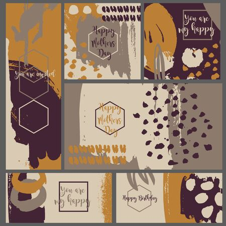 ink splatter: Collection six invitation cards of ink splatter.