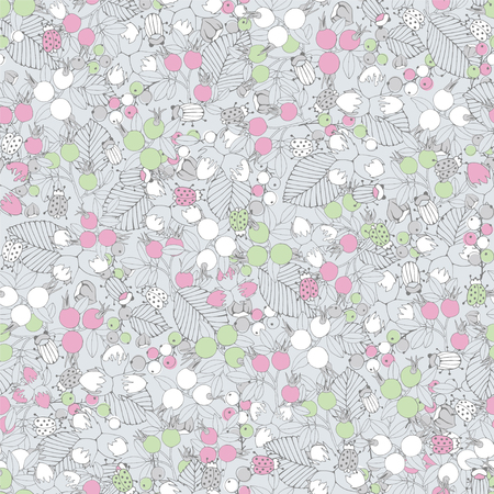 nutshell: Floral seamless pattern with berries Illustration