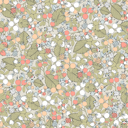 Floral seamless pattern with berries.