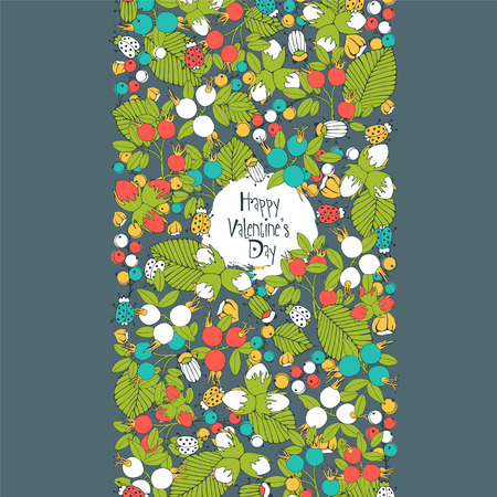 Floral greeting card with berries and insects. Illustration