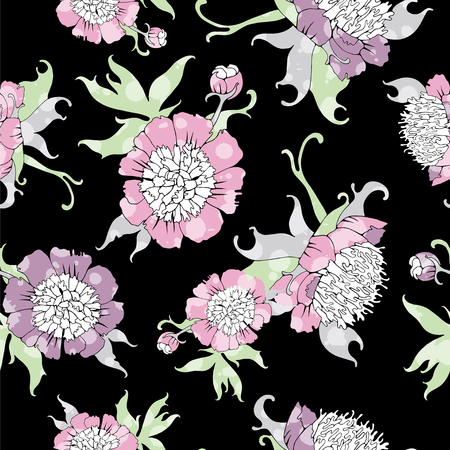 Seamless pattern with peonys flowers.