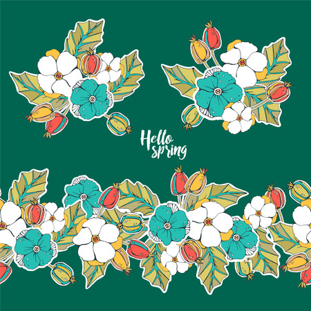 Seamless border with briar berries and flowers. Two sticker with bouquets.