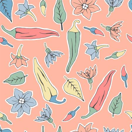 Seamless pattern chili pepper wallpaper.