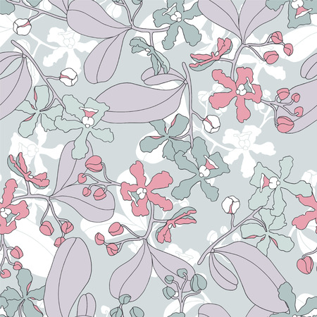 Botanical seamless pattern with orchids.