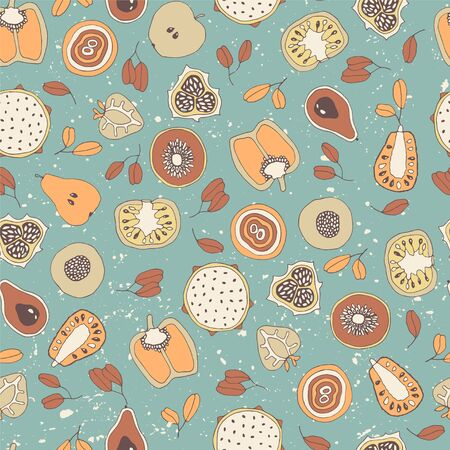 Vector mixed fruit seamless pattern.