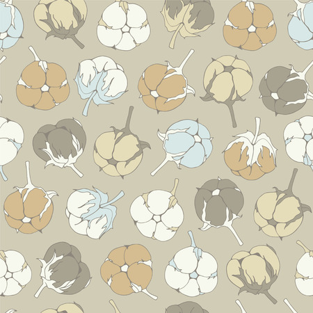 Botanical illustrations. Seamless pattern with flower cotton. Иллюстрация