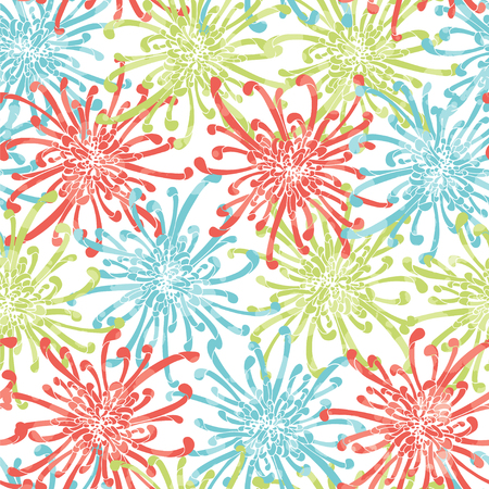 Seamless pattern aster flower with white background. Illustration
