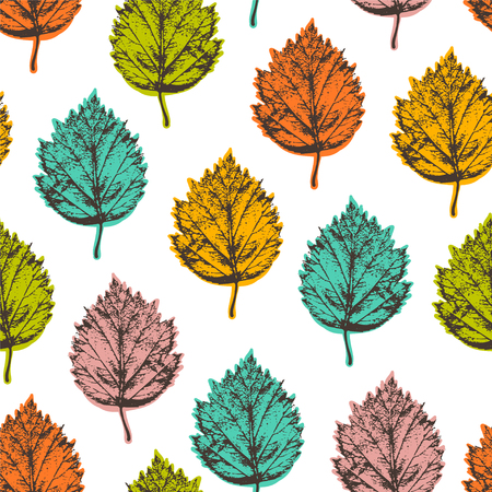 Autumn seamless pattern with leafs hawthorn.