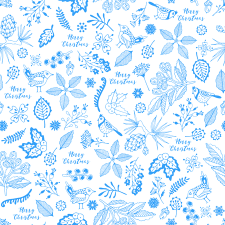 Merry Christmas seamless pattern. Hand drawing. Illustration