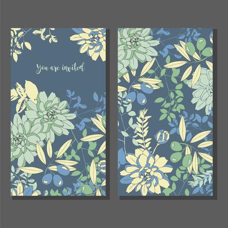 Floral wedding invitation. Reverse side.