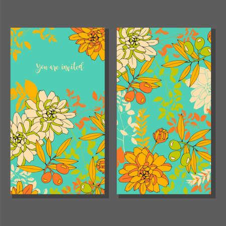 reverse: Floral wedding invitation. Reverse side.