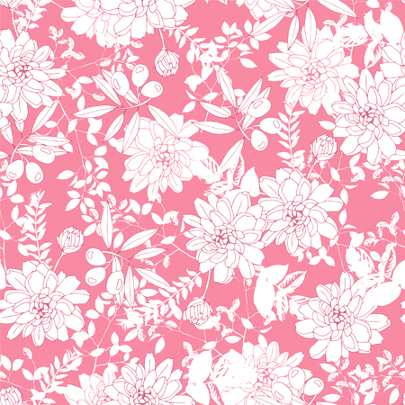 petal: Botanical seamless pattern with flowers and olives. Illustration