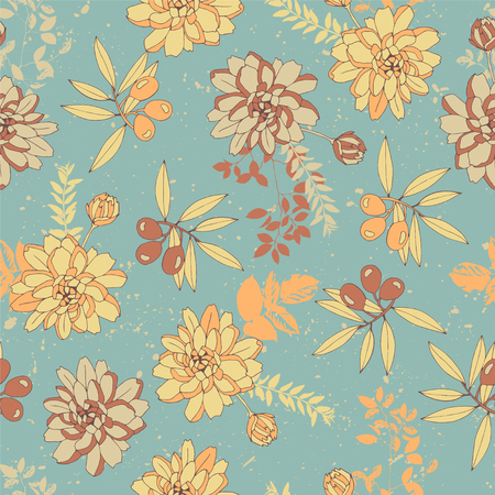 Botanical seamless pattern with flowers and olives. Illustration