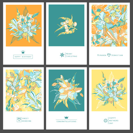 Set of tropical greeting flyers with lilies. Illustration