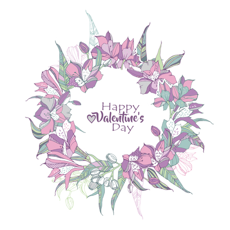 Valentines day greeting flyers with lilies frame. Illustration