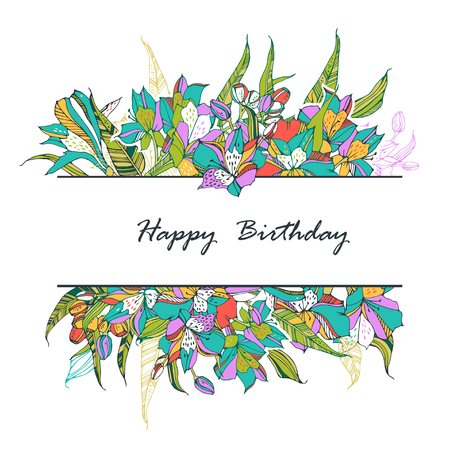 Birthday card template design with trendy summer tropical lilies.