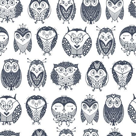 Kids seamless pattern with cute owls. Vectores