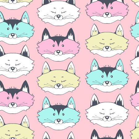 Cute seamless pattern with face foxs.