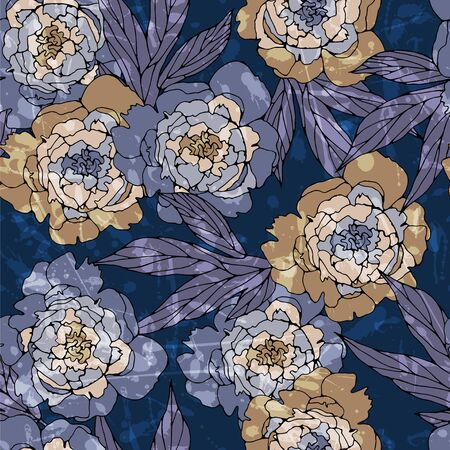 Floral seamless pattern with peonys.
