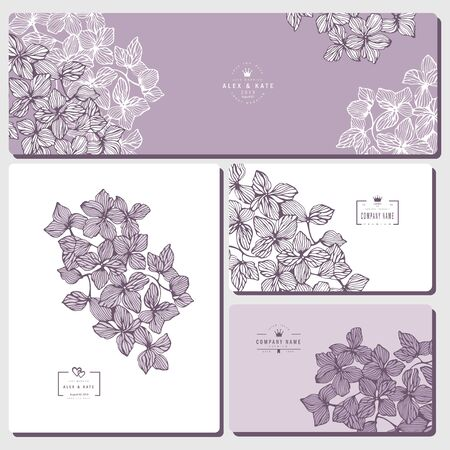 Set of creative business card template and wedding flyers.