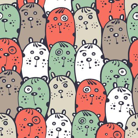 Cartoon seamless pattern with fantasy animals.