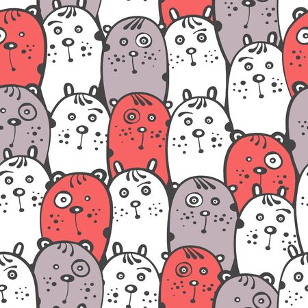 Cartoon seamless pattern with cute animals. Illusztráció