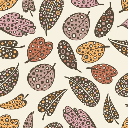Seamless pattern with doodle leafs. Vectores