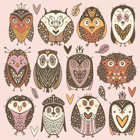 Collection of cartoons owls and penguins.