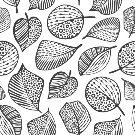 Abstract seamless pattern with cartoon leafs.