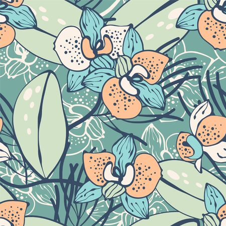 Tropical seamless pattern with orchid.