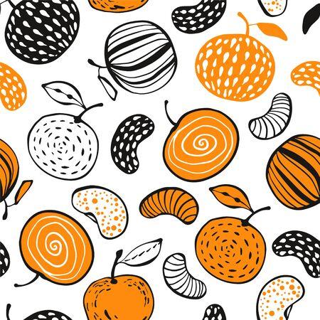 Winter seamless pattern with mandarins.