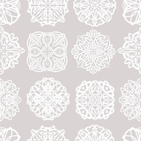 Seamless pattern with round hand drawn mandala.
