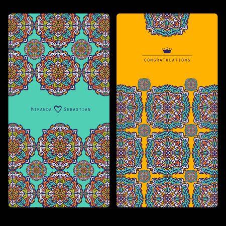 Collection mandala cards. Wedding invitation.