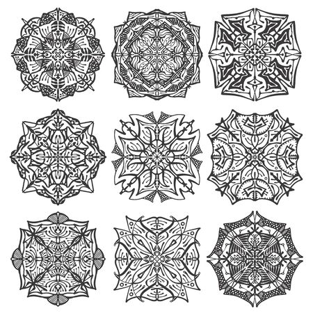 Collection mandala on white isolated background. Antistress coloring book.