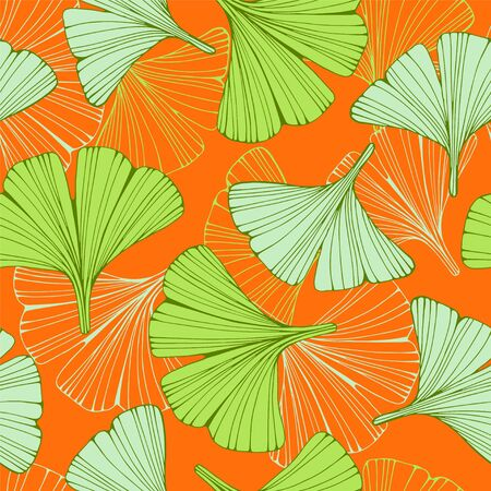Seamless pattern with hand drawn leafs ginkgo biloba. Banco de Imagens - 150182812
