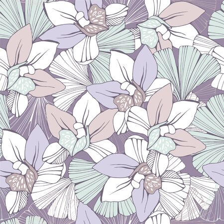Seamless pattern with orchids and ginkgo biloba leafs. Ilustrace