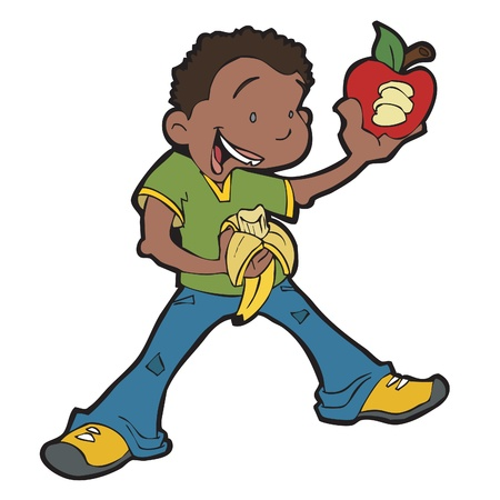 African American Boy Eating Fruit