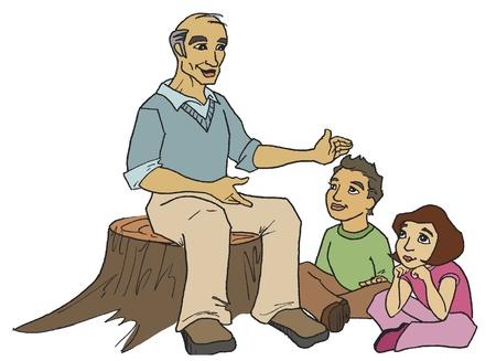 Opa Het vertellen van een verhaal Vector Illustratie