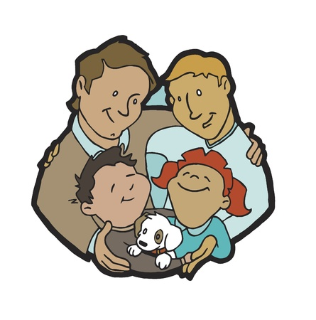 Parents - Dads with Kids Stock Vector - 10360852