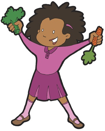Girl Eating Veggies Illustration