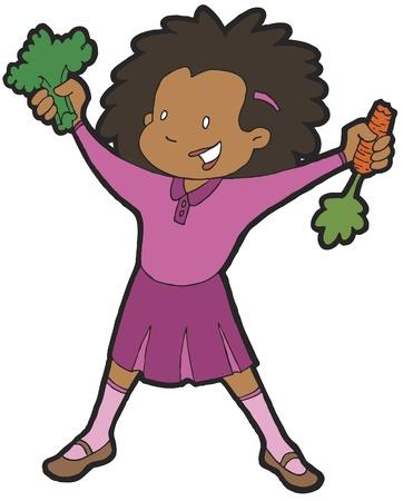 veggies: Girl Eating Veggies Illustration